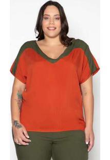 Blusa Plus Size Viscose Contraste Laranja Laranja