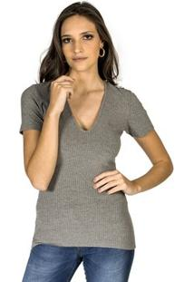 Blusa Decote V Canelada Colcci Feminino - Feminino-Cinza