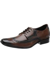 Sapato Social Couro Stefanello Recortes Masculino - Masculino-Marrom