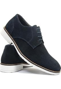 Sapato Casual Salazari Casual Oxford Couro Masculino - Masculino-Marinho