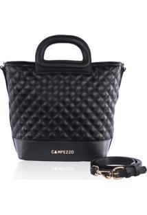 Bolsa Bucket Bag Campezzo Couro Preto Matelassê - Tricae