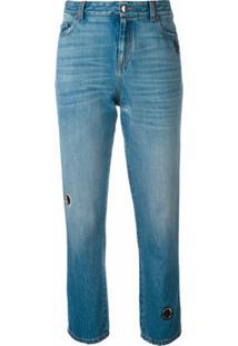 Christopher Kane Calça Jeans Reta - Azul