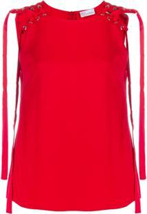 Red Valentino Blusa Com Detalhes Perfurados - Vermelho
