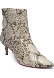 Bota Santamelia Ankle Boot Animal Print Bico Fino Conforto Feminina - Feminino-Bege