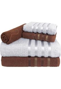 Jogo De Toalha 5 Peã§As Kit De Toalhas 2 Banho 2 Rosto 1 Piso Marrom E Branca - Branco/Marrom - Dafiti