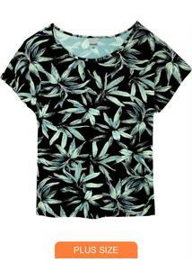 Blusa Estampada Folhagem Em Viscose Plus