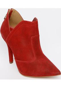 Ankle Boot Em Couro Com Recortes - Vermelha - Salto:Carmen Steffens
