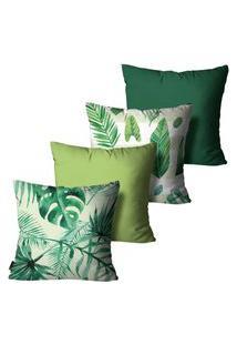 Kit Com 4 Capas Para Almofadas Floral Verde 45X45Cm