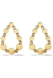 5 Octobre Par De Brincos Wyll Em Ouro 14K Com Diamante - Yellow And White
