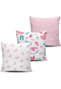 Kit 3 Capas Almofadas Decorativas Infantil Baby Rosa 45X45Cm