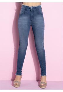 Calça Jeans Com Desfiado No Cós