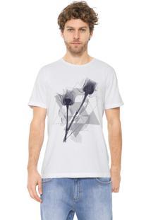 Camiseta Aramis Triângulos E Flores Branca
