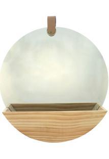 Espelho Oval Madeira New Zealand Pine 35X35X6Cm - Marrom - Dafiti