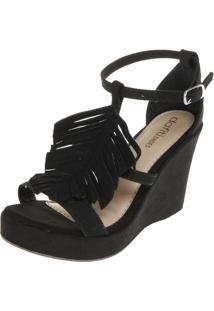 Sandália Dafiti Shoes Anabela Franja Preta