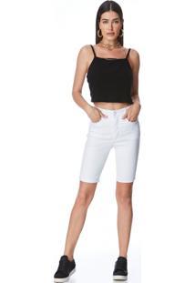 Bermuda Jeans Zait Pedal Morena Branco Branco