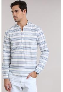 Camisa Slim Listrada Off White