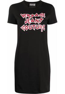 Versace Jeans Couture Vestido Com Aplicação De Logo - Preto