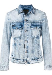 Philipp Plein Jaqueta Jeans Destroyed - Azul