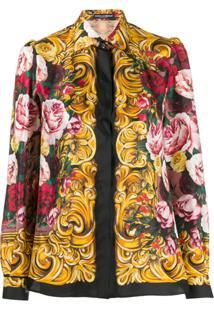 Dolce & Gabbana Silk Floral Print Blouse - Preto