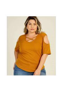 Blusa Plus Size Feminina Canelada Tiras Strappy