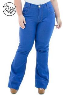 Calça Jeans Confidencial Extra Plus Size Flare Missy Feminina - Feminino-Azul