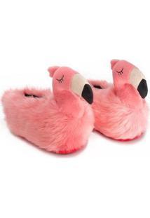 Pantufa 3D Flamingo - Unissex-Rosa