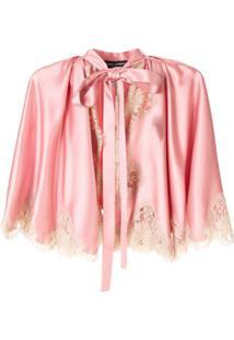 Dolce & Gabbana Jaqueta De Seda Com Renda - Rosa