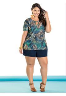 Conjunto Blusa E Short Plus Size Folhagem E Azul