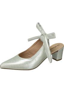 Scarpin Lu Fashion Laço Prata