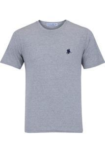 Camiseta Polo Us Gola Careca 606Tsgcb - Masculina - Cinza/Azul Esc