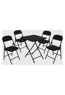 Conjunto Mesa C/ 4 Cadeiras Dobráveis Preto Açomix