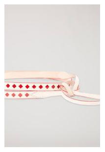 Cinto De Couro Cintura Losango Branco Nata/Vermelho Cabernet