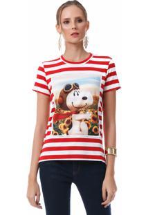 T Shirt Angel Manga Curta Peanuts Frame Vermelha