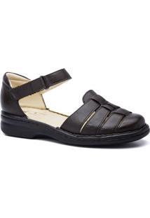 Sapato Feminino 362 Em Couro Doctor Shoes - Feminino-Café