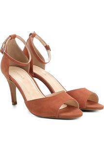 696943241 Sandália Couro Shoestock Salto Fino Naked Tornozeleira Feminina - Feminino -Caramelo
