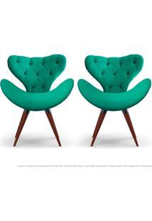 Kit De 02 Poltronas Decorativas Cadeiras Egg Com Capitonê Verde Com Base Fixa De Madeira
