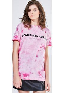 Camiseta Tie Dye Com Lettering Flocado