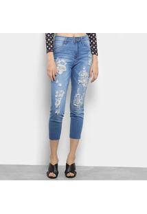 Calça Jeans Skinny Cropped Coca-Coca Destroyed Cintura Alta Feminina - Feminino-Azul