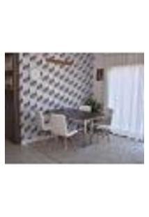 Conjunto De Mesa Dobrável Retrátil 1,40 Preto/Noronha Inox + 4 Cadeiras Gomos - Branca