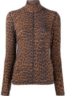 Ganni Suéter Gola Alta Com Estampa De Leopardo - Marrom