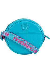 Bolsa Tiracolo Moleca Redonda Texturizada Azul Azu