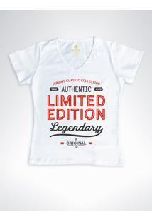 Camiseta Feminina Gola V Frases Cool Tees Limited Edition Branco