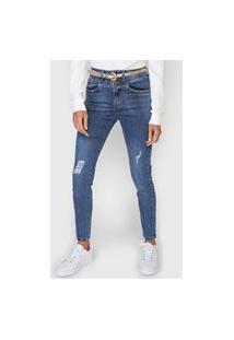 Calça Cropped Jeans Maria Filó Skinny Destroyed Azul