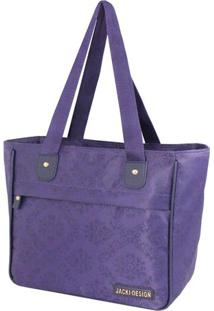Bolsa Shopper Damasco- Roxa- 26X29X14,5Cm- Jackijacki Design