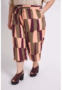 Calça Kaue Plus Size Pantacourt Estampa Geométrica Feminina - Feminino-Verde
