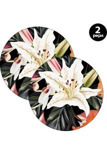 Sousplat Mdecore Floral 32X32Cm Preto 2Pçs