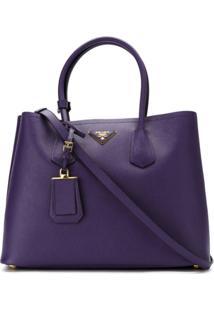 Prada Bolsa 'Double Bag' De Couro - Roxo