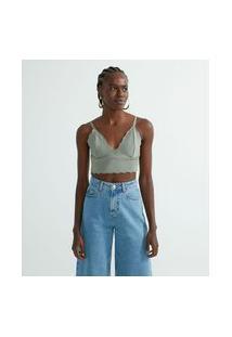 Blusa Cropped Em Tricô Com Alça Fina E Decote V