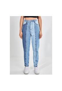 Calça Mom Jeans Recortes