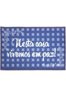 """Tapete """"Nesta Casa Vivemos Em Paz""""- Azul & Branco- 6Kapazi"""
